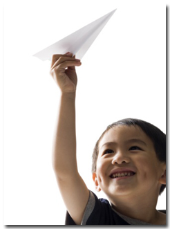 Contact: boy flying paper airplane